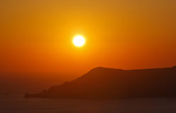 View on sunset in Fira town Royalty Free Stock Photos