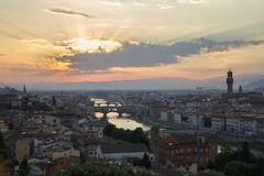 View  of sunset in florence city from Michelangelo Square Stock Photo
