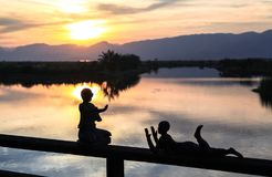 The view of sunset in Inle Lake Royalty Free Stock Photography