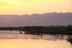 The view of sunset in Inle Lake Royalty Free Stock Photos