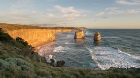 Sunset looking east at the twelve apostles on the great ocean road. The  view at sunset looking east towards melbourne at the twelve apostles on the great ocean royalty free stock photos