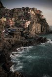 View of Manarola at sunset. View at sunset of Manarola in National Park of Cinque Terre, Ligury, Italy Royalty Free Stock Images