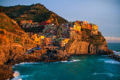 View of Manarola at sunset. View at sunset of Manarola in National Park of Cinque Terre, Ligury, Italy Stock Photography