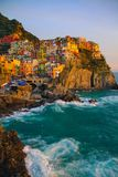 View of Manarola at sunset. View at sunset of Manarola in National Park of Cinque Terre, Ligury, Italy Stock Image