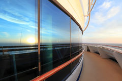 View of sunset from deck of ocean ship Royalty Free Stock Image