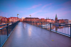 View on sunset over Bremen city from bridge Royalty Free Stock Images