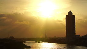 View of sunset over chaophraya river bangkok Thanlabd ; slow motion stock video