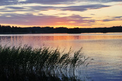 View of the sunset over the lake Stock Photography