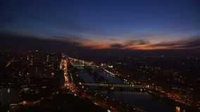 View of the sunset over the river Seine. From the eiffel tower stock video