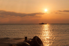View of a sunset over the sea in Crimea Stock Image