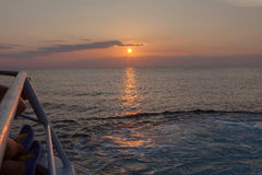 View of a sunset over the sea in Crimea Stock Photography
