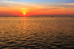 View of sunset over shell farm Stock Image