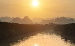 View of sunset at Phang Nga bay, Southern of Thailand Royalty Free Stock Photos