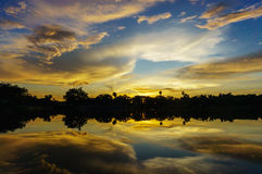 View of sunset reflect on river, Siem Reap, Cambodia. Royalty Free Stock Photos