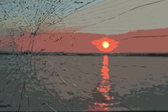 View of sunset in river vector illustration