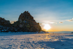View of sunset at Sacred Shamankha on Olkhon Island in Lake Baik Royalty Free Stock Photography