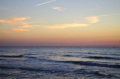 View on the sunset on the sea royalty free stock image