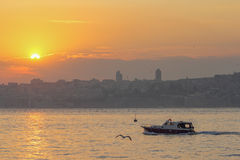 View of the sunset on the sea, Istanbul Royalty Free Stock Images