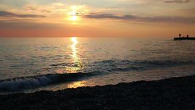 View of sunset on sea stock video footage