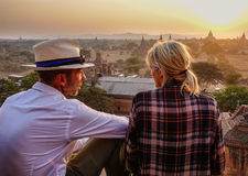 View of sunset on temple in Bagan, Myanmar Royalty Free Stock Photography