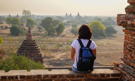 View of sunset on temple in Bagan, Myanmar Stock Photo
