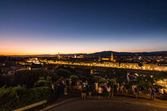 View at sunset to the city of Florence from Michelangelo Square Royalty Free Stock Photography