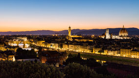 View at sunset to the city of Florence from Michelangelo Square Royalty Free Stock Image