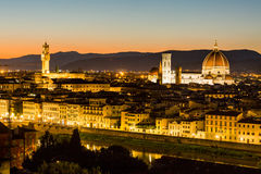 View at sunset to the city of Florence from Michelangelo Square Royalty Free Stock Images