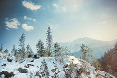 View on sunset at winter mountains Royalty Free Stock Image