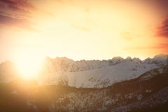 View on sunset at winter mountains Stock Photography