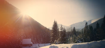 View on sunset at winter mountains Stock Image