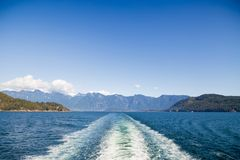 A view of the Sunshine Coast as seen from the deck of a ferry. royalty free stock photography