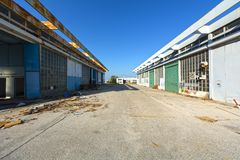 Support facilities at an abandoned airport Stock Photos