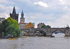 Charles Bridge with Old Town Tower - Prague, Czech Republic, Europe. UNESCO monument. Stock Photos