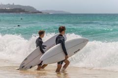 View of surfers going surfing Stock Photo