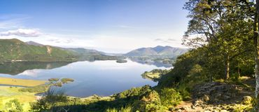 View from Surprise View near Keswick in the morning with reflections in Derwent Water, Lake District, Cumbria England stock photography