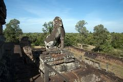 View of of surrounding jungle from Pre Rup a 10th century hindu temple. Scene around the Angkor Archaeological Park. The site contains the remains of the Stock Photo