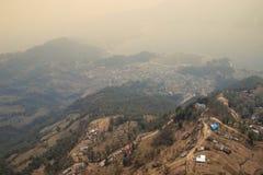 Flying over Pokahara, Nepal. Rice terraces royalty free stock photos