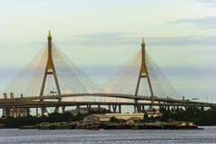 View of suspension bridge across Choa Phraya river , Th Stock Photography
