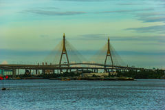 View of suspension bridge across Choa Phraya river , Thailand Stock Photo