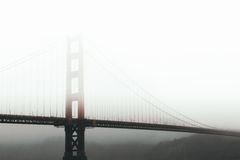 View of Suspension Bridge in Foggy Weather Royalty Free Stock Images
