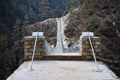 View from the suspension bridge over Dudh Koshi River on route to Namche Bazar, Khumjung, Solu Khumbu, Nepal. Stock Photo