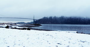 View of suspension bridge and sea stock video