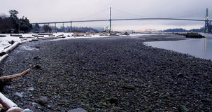 View of suspension bridge and sea stock video footage