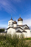 View on suspension bridge and St. Nicholas church in Ostrov Royalty Free Stock Photos