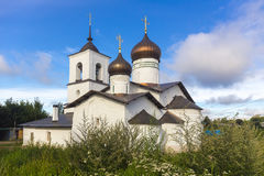View on suspension bridge and St. Nicholas church in Ostrov Stock Photo