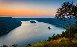 View of the Susquehanna River at sunset, from the Pinnacle in So Royalty Free Stock Photos