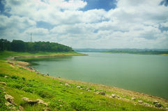 View of Sutami Lahor Dam under blue sky Royalty Free Stock Image