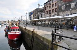 Waterside view of the Sutton Harbour, Plymouth, UK