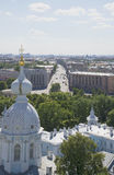 View of the Suvorovsky prospect from the top of Smolny Cathedral. Saint-Petersburg Royalty Free Stock Photography